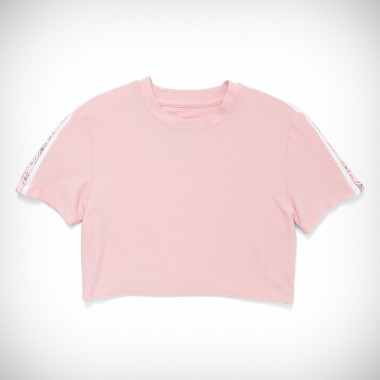 Converse x Miley Cyrus Boxy Cropped Glitter Track Tee Pink