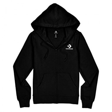 Women's Star Chevron Embroidered Full Zip Hoodie Black