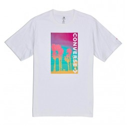 Men Palm Tree Photo T Shirt White