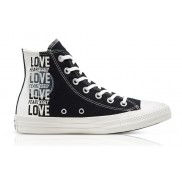 Converse Love Fearlessly Chuck Taylor All Star High Top Schoen Black/Egret/University Red