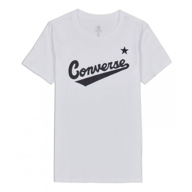 Center Front Logo Tee Converse Women White