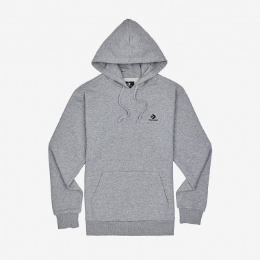 Embroided Star Chevron Pullover Hoodie Grey