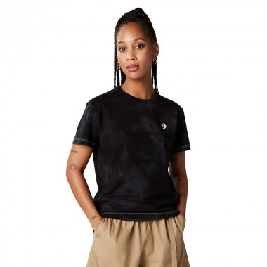 Wash Effect Relaxed Tee Black