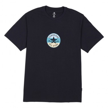 Striped Center Front Chuck Patch Short Sleeve Tee Black
