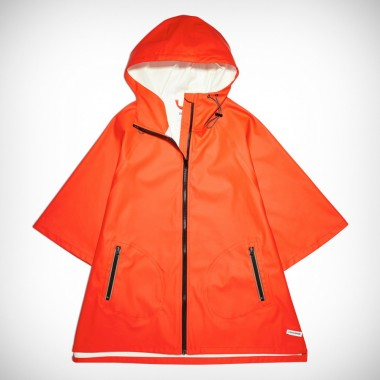 Womens Rubber Poncho Jacket Signal Red
