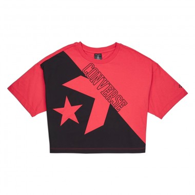 CONVERSE LINEAR WORDMARK BOXY TEE Red