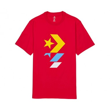 CONVERSE REPEATED STAR CHEVRON TEE RED