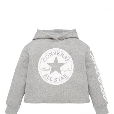 Girls Chuck Patch Cropped Hoodie - Grey