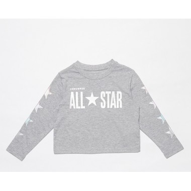 All Star Cropped LS Boxy Tee Grey Heather ( 4 to 7 years)