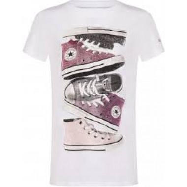 CNVG SHINY SNEAKER STACKTEE WHITE