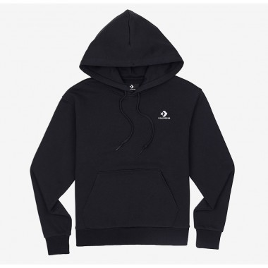 Converse Womens Embroidered Star Chevron Pullover Hoodie Black