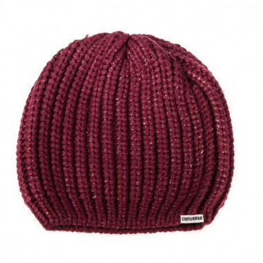 METALLIC COATED BEANIEDeep Bordeaux