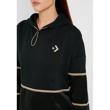 Colorblock Shine Pullover Black