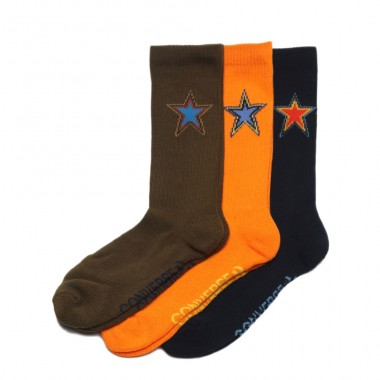 Converse Socks Half Cushion Crew - 3 Pairs (Black, Green, Orange)