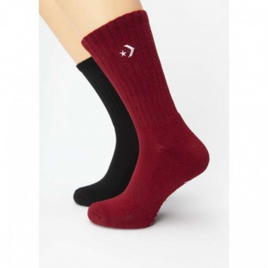 Converse Socks Half Cushion Crew - 2 Pairs (Black, Red)
