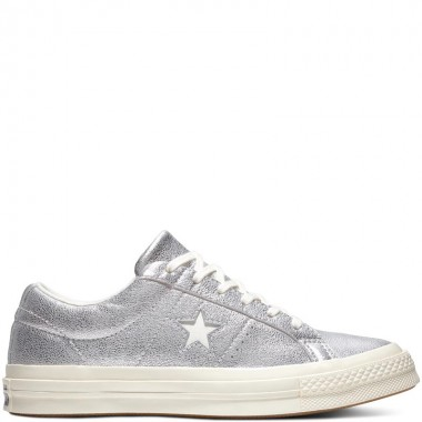 One Star Metallic Leather Low Top Silver