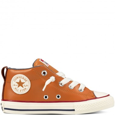 Chuck Taylor All Star Street Leather and Shearling Mid Raw /Портокалова