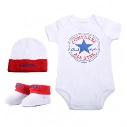 Converse 3-Piece Set Baby Kit-White/Red 0-6m