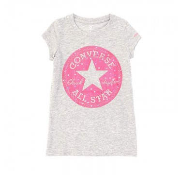 Converse Chuck Patch Moon Glitter Short Sleeve Heather Grey Kids