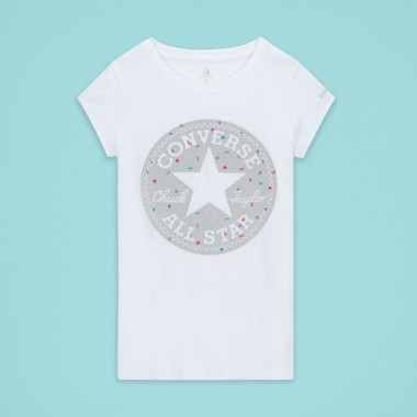 Converse Chuck Patch Moon Glitter Short Sleeve White Kids