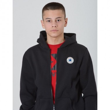 Converse Fleece Printed Chuck Patch Full Zip Hood Black Kids