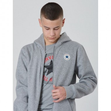 Converse Printed Chuck Patch Full Zip Hood Grey Kids