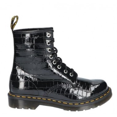 1460 PATENT LEATHER CROCODILE PRINT BOOTS