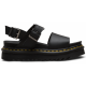VOSS WOMEN'S LEATHER STRAP SANDALS Black