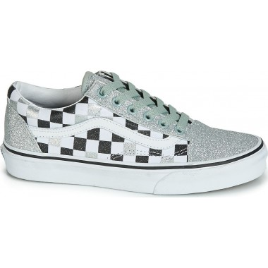 Vans Old Skool (glitter checkerboard) silver / true white
